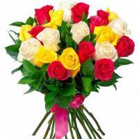 17 разноцветных роз микс